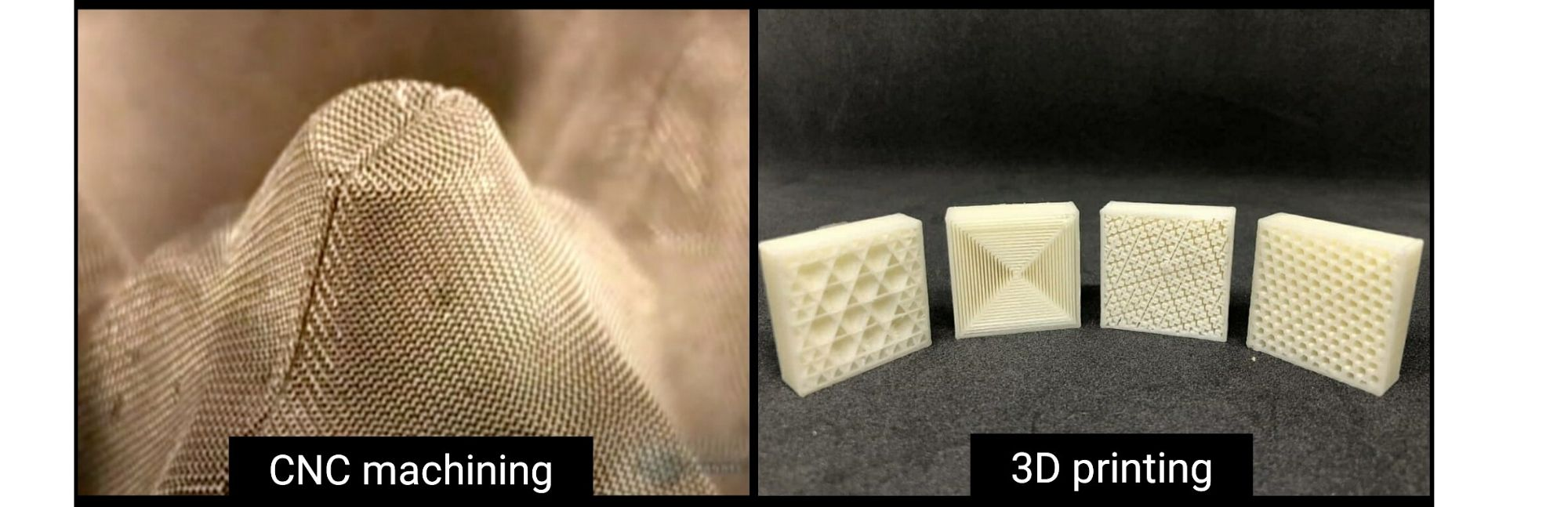 3D Printed component V/s Pulp mould internal structure similarities.