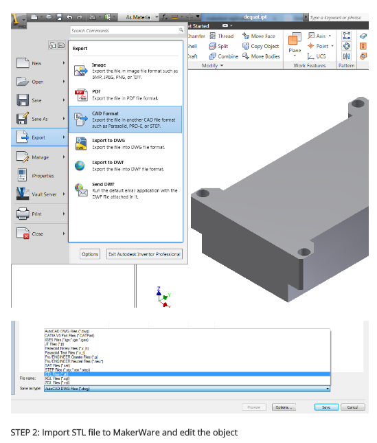 Autodesk Inventor | 3D Models into STL Files